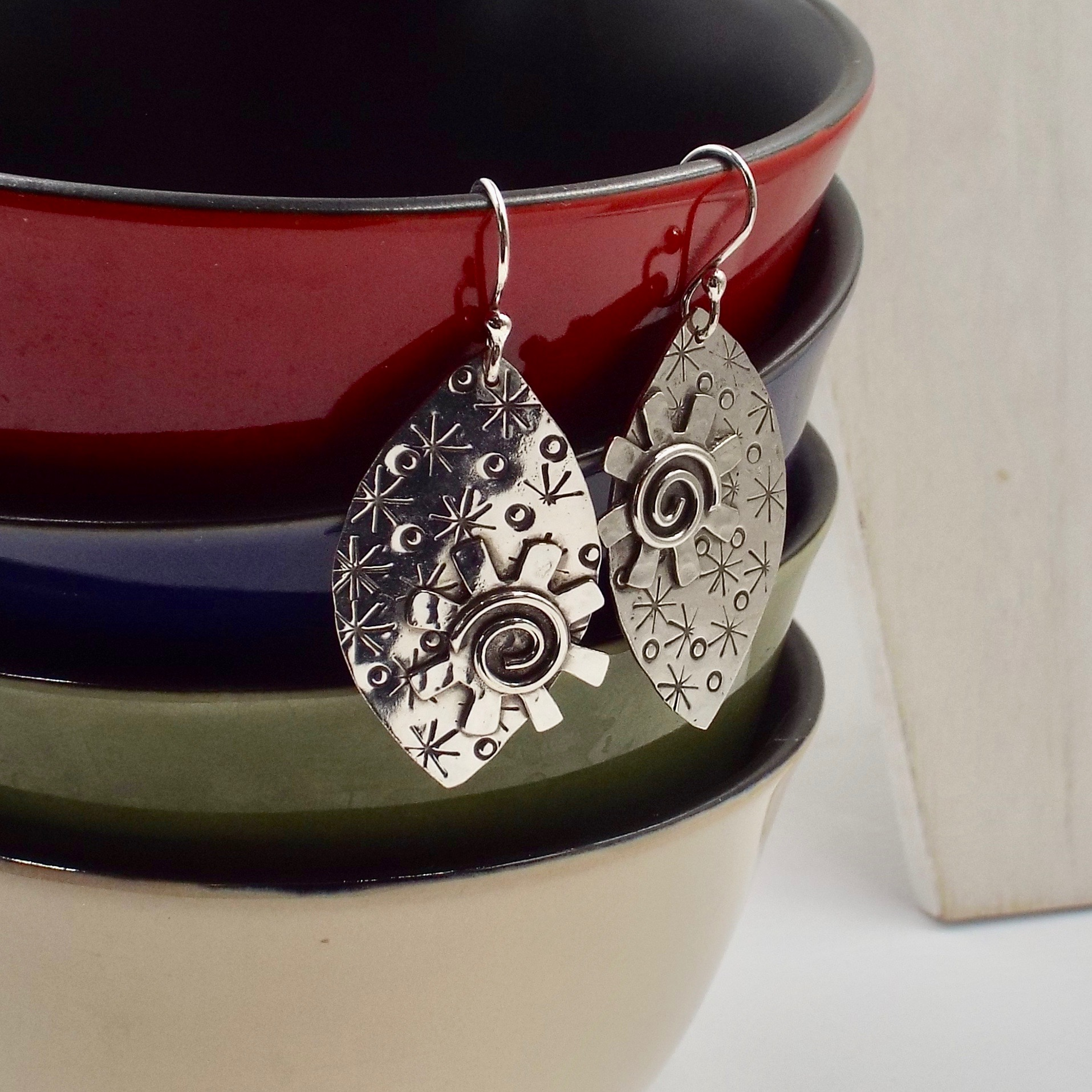 "Katherine Fathi, ""Almond Shaped Earrings with Pinwheels"", jewelry"