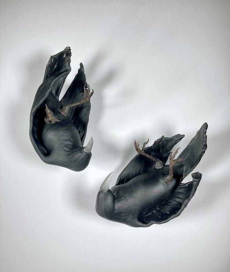 "Chad Fonfara, ""Beset on All Sides"", glass, bronze"