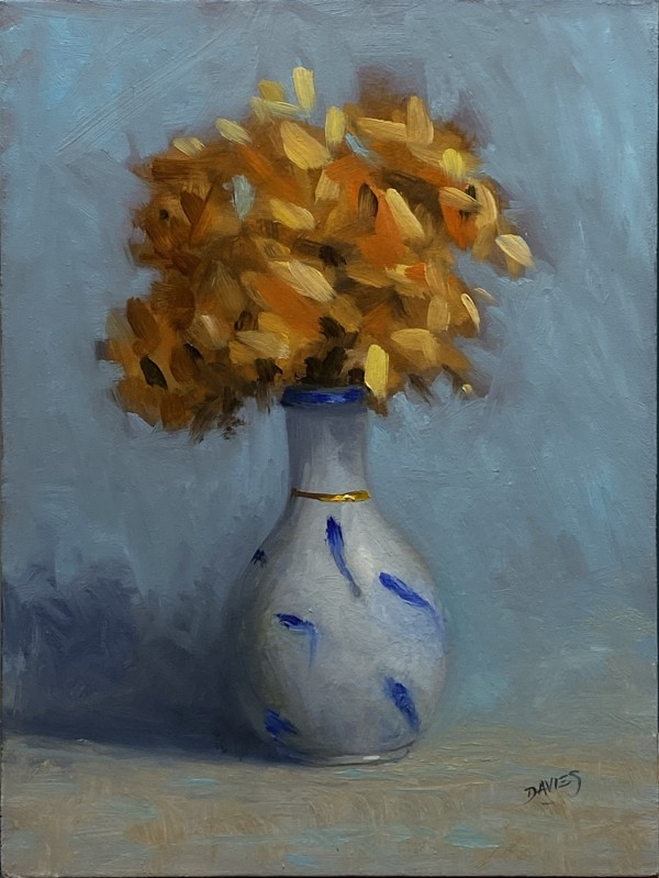 "Richard Davies, ""Blue Koi,"" Oil on panel"