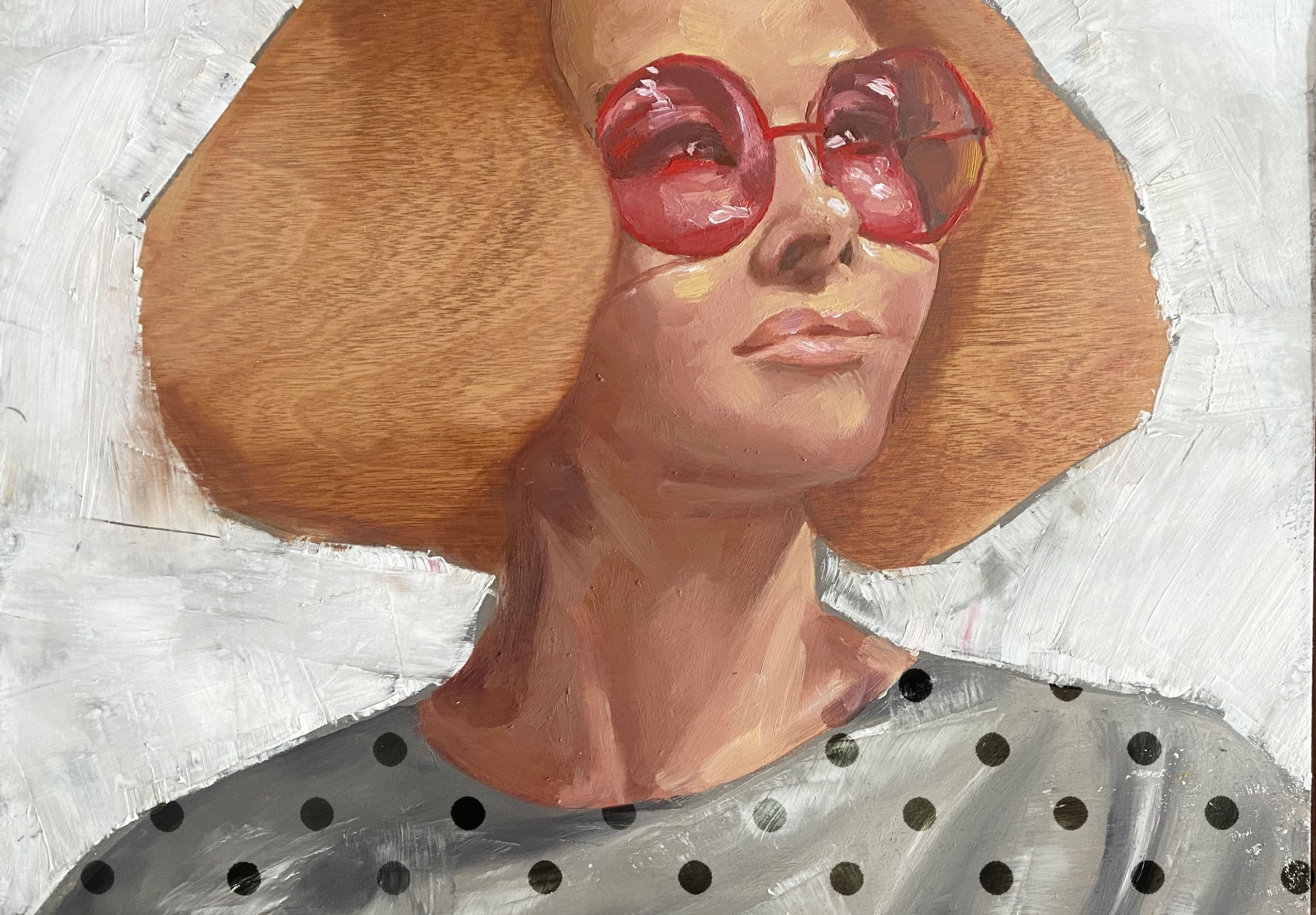 """Engy AlGarf, """"Red Glasses"""", Oil on panel"""
