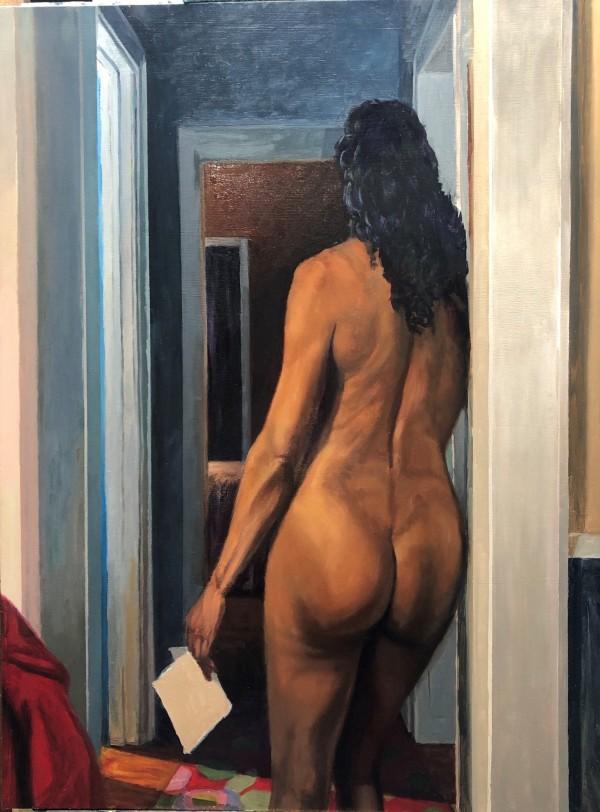 "Richard Davies, ""The Note,"" Oil on panel"