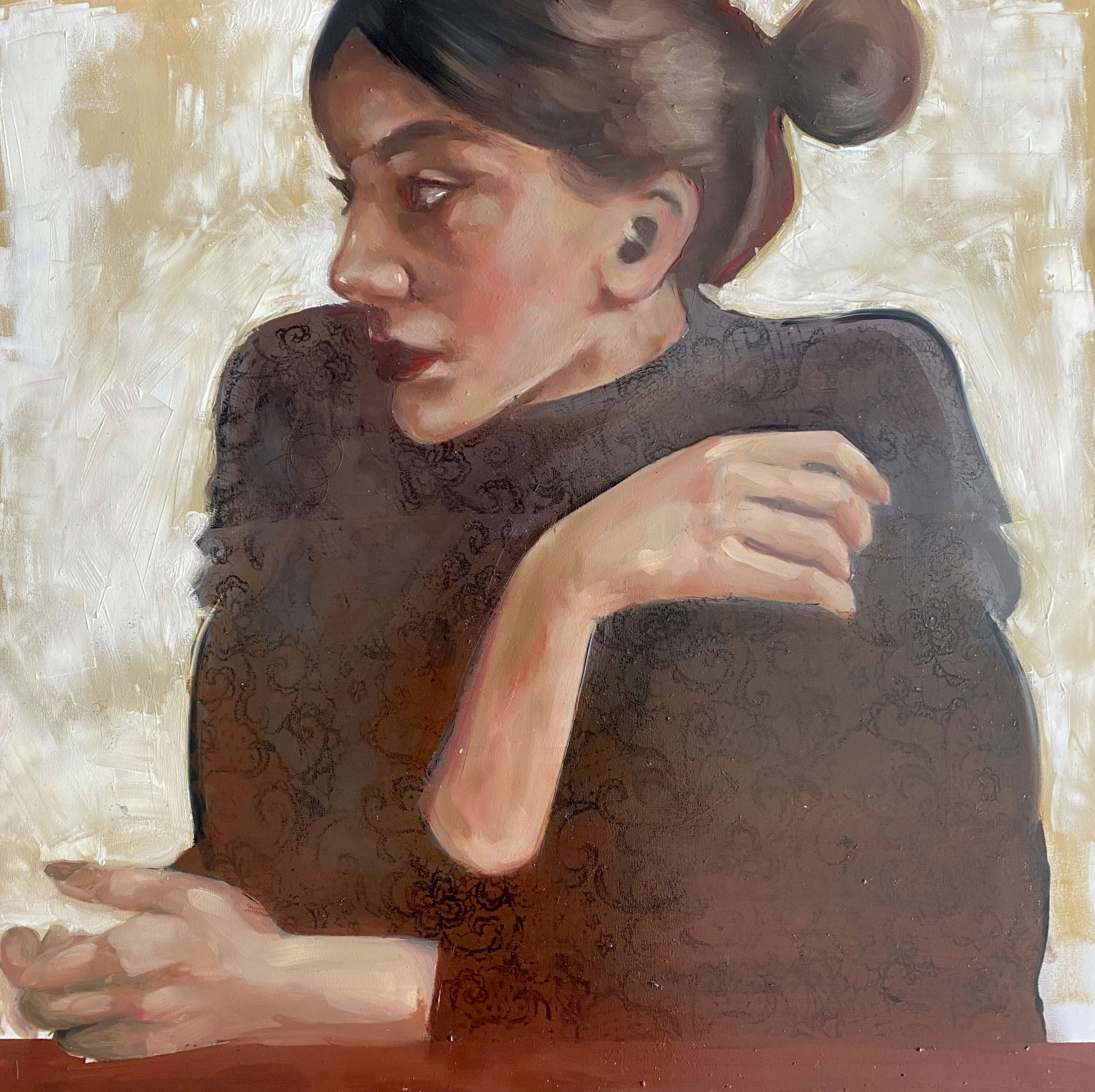 """Engy AlGarf, """"Waiting"""", Oil on panel"""